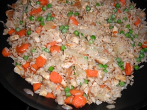 chicken fried rice made with the boiled chicken