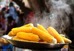 steaming hot sweet corn on platter