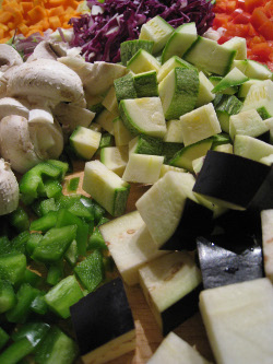 Fresh vegetables cut and ready for the freezer.