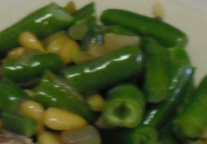 Garlic Green Bean Recipe with Pine Nuts. Can be made fresh or frozen ahead.