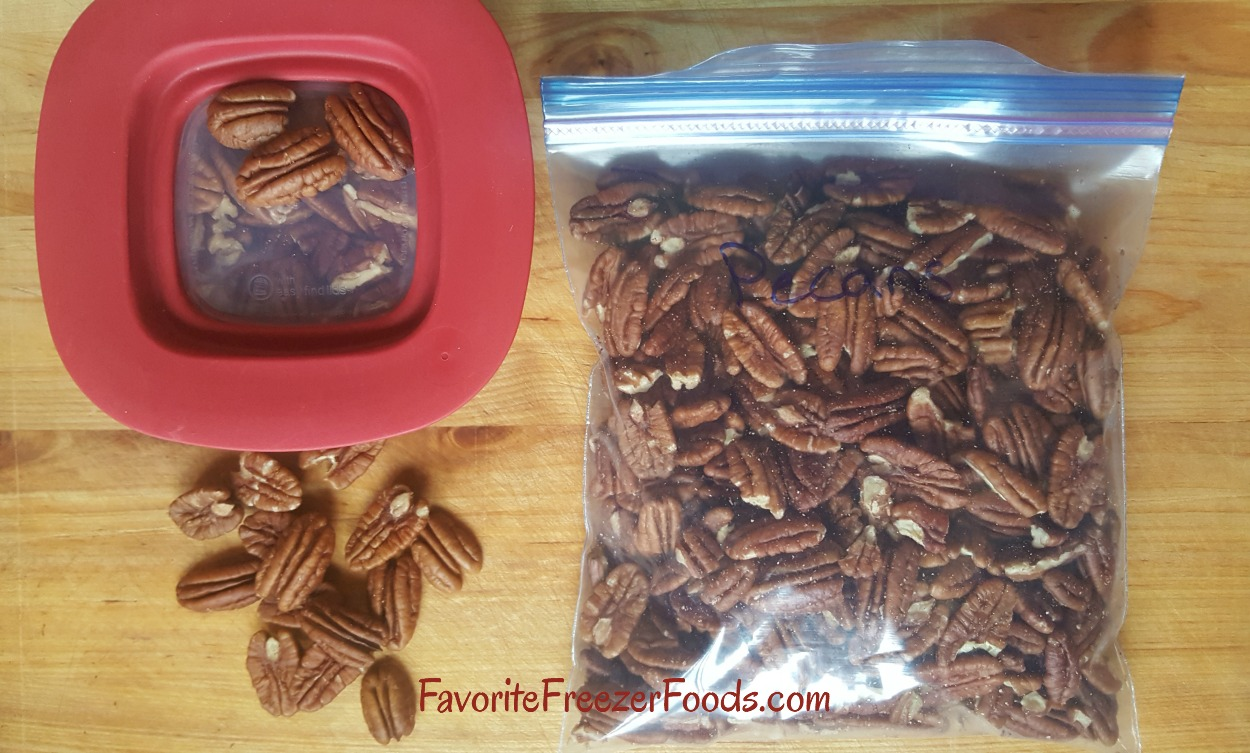 Freeze pecans in glass so they don't break or in a freezer bag for the most flexibility. Freezing nuts increases their shelf life saving you money.