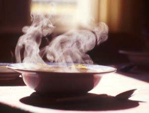 Steaming hot bowel of soup perfect for a cold winter day.